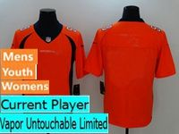 Mens Women Youth Nfl Denver Broncos Orange Vapor Untouchable Limited Current Player Jersey