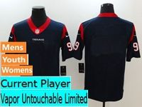 Mens Women Youth Nfl Houston Texans Blue Vapor Untouchable Limited Current Player Jersey