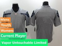 Mens Women Youth Nfl Seattle Seahawks Gray Vapor Untouchable Limited Current Player Jersey