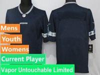 Mens Women Youth Nfl Dallas Cowboys Blue Vapor Untouchable Limited Current Player Jersey