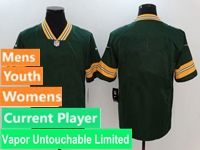 Mens Women Youth Nfl Green Bay Packers Green Vapor Untouchable Limited Current Player Jersey