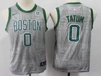 Youth Nba Boston Celtics #0 Jayson Tatum Gray Nike City Edition Swingman Jersey