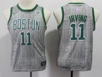 Youth Nba Boston Celtics #11 Kyrie Irving Gray Nike City Edition Swingman Jersey