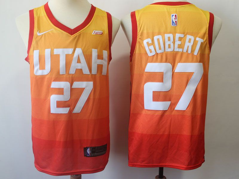 Mens 2017-18 Season Utah Jazz #27 Rudy Gobert City Edition Red Swingman Jersey