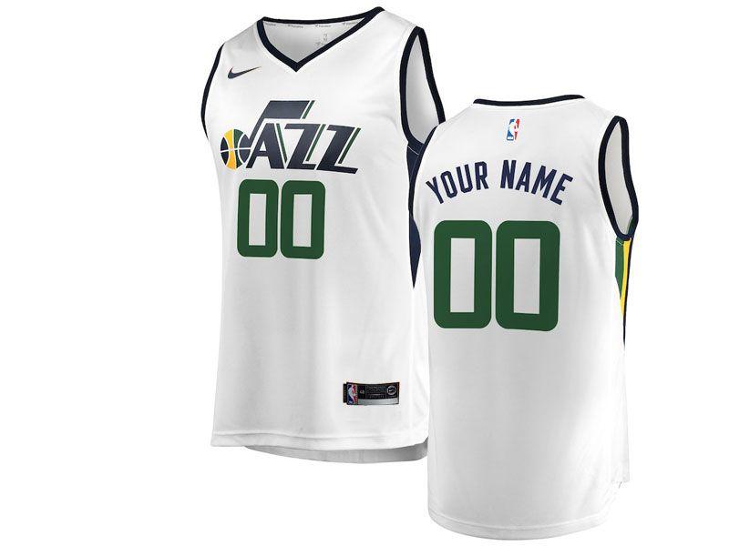 Mens Youth Nba Utah Jazz Custom Made White Nike Swingman Jersey