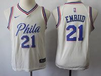 Youth Nba Philadelphia 76ers #21 Joel Embiid Cream Swingman Nike Jersey