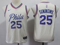Youth Nba Philadelphia 76ers #25 Ben Simmons Cream Swingman Nike Jersey