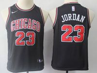 Youth Nba Chicago Bulls #23 Michael Jordan Bulls Black Swingman Nike Jersey