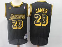Mens Nba Los Angeles Lakers #23 Lebron James Black Hardwood Classics Swingman Jersey