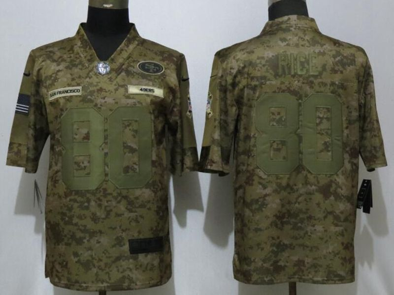 Mens Women Nfl San Francisco 49ers #80 Jerry Rice 2018 Camo Salute To Service Limited Jersey