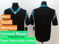 Mens Women Youth Nfl Carolina Panthers Black Vapor Untouchable Limited Current Player Jersey