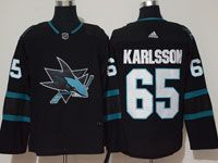 Mens Adidas Nhl San Jose Sharks #65 Erik Karlsson Alternate Black Jersey
