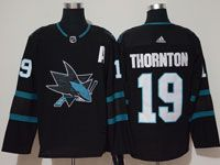 Mens Adidas Nhl San Jose Sharks #19 Joe Thornton Alternate Black Jersey