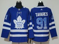 Mens Adidas Nhl Toronto Maple Leafs #91 John Tavares Blue Drift Fashion Home Jersey