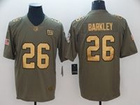 Mens Nfl New York Giants #26 Saquon Barkley 2018 Salute To Service Gold Number Limited Jersey