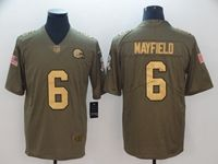 Mens Nfl Cleveland Browns #6 Baker Mayfield 2018 Salute To Service Gold Number Limited Jersey