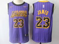 Mens Nba Los Angeles Lakers #23 Lebron James Purple Nike 2019 City Jersey
