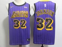 Mens Nba Los Angeles Lakers #32 Magic Johnson Purple Nike 2019 City Jersey