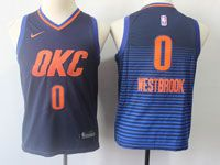 Youth Nba Oklahoma City Thunder #0 Russell Westbrook Dark Blue Orange Number Nike Jersey