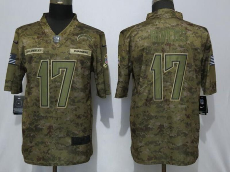 Mens Women Nfl Los Angeles Chargers #17 Philip Rivers 2018 Camo Salute To Service Limited Jersey