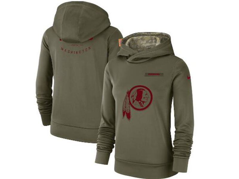 Womens Nfl Washington Redskins Green Olive Salute To Service Team Logo Performance Pullover Hoodie Nike Jersey