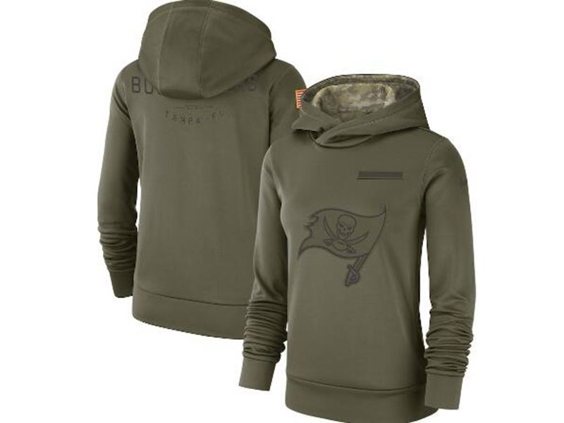 Womens Nfl Tampa Bay Buccaneers Green Olive Salute To Service Team Logo Performance Pullover Hoodie Nike Jersey