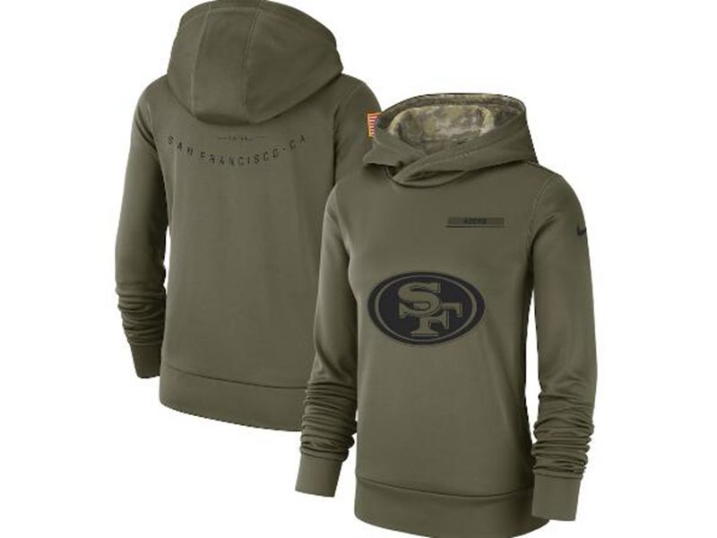 Womens Nfl San Francisco 49ers Green Olive Salute To Service Team Logo Performance Pullover Hoodie Nike Jersey