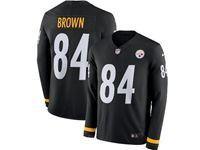 Mens Womens Nfl Pittsburgh Steelers #84 Antonio Brown Black Nike Therma Long Sleeve Jersey