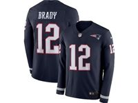 Mens Womens Nfl New England Patriots #12 Tom Brady Blue Nike Therma Long Sleeve Jersey
