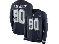 Mens Womens Nfl Dallas Cowboys #90 Demarcus Lawrence Blue Nike Therma Long Sleeve Jersey
