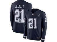 Mens Womens Nfl Dallas Cowboys #21 Ezekiel Elliott Blue Nike Therma Long Sleeve Jersey