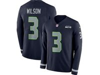 Mens Nfl Seattle Seahawks #3 Russell Wilson Blue Nike Therma Long Sleeve Jersey