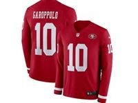 Mens Womens Nfl San Francisco 49ers #10 Jimmy Garoppolo Red Nike Therma Long Sleeve Jersey