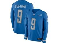 Mens Womens Nfl Detroit Lions #9 Matthew Stafford Blue Nike Therma Long Sleeve Jersey