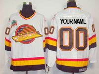 Mens Ccm Nhl Vancouver Canucks Custom Made White Throwbacks Jersey