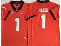Mens Ncaa Nfl Georgia Bulldogs #1 Justin Fields Red Vapor Untouchable Limited Jersey