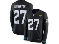 Mens Nfl Jacksonville Jaguars #27 Leonard Fournette Black Nike Therma Long Sleeve Jersey