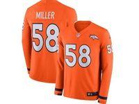 Mens Nfl Denver Broncos #58 Von Miller Orange Nike Therma Long Sleeve Jersey