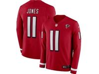Mens Nfl Atlanta Falcons #11 Julio Jones Red Nike Therma Long Sleeve Jersey