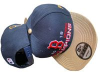Mlb Boston Red Sox Dark Blue And Gold World Series Champons Adjustable Snapback Hats