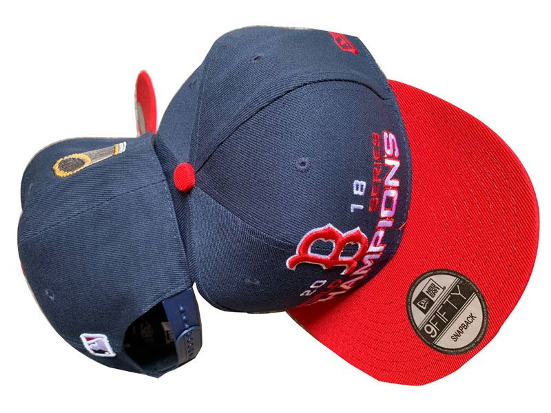 Mlb Boston Red Sox Dark Blue And Red World Series Champons Adjustable Snapback Hats