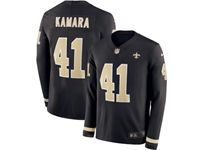 Mens Nfl New Orleans Saints #41 Alvin Kamara Black Nike Therma Long Sleeve Jersey