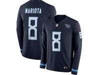 Mens Nfl Tennessee Titans #8 Marcus Mariota Blue Nike Therma Long Sleeve Jersey