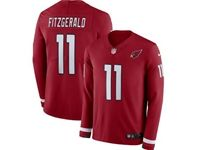 Mens Nfl Arizona Cardinals #11 Larry Fitzgerald Red Nike Therma Long Sleeve Jersey
