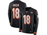Mens Nfl Cincinnati Bengals #18 Aj Green Black Nike Therma Long Sleeve Jersey