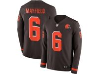 Mens Nfl Cleveland Browns #6 Baker Mayfield Brown Nike Therma Long Sleeve Jersey