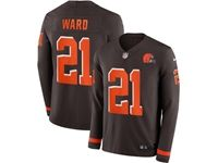 Mens Nfl Cleveland Browns #21 Denzel Ward Brown Nike Therma Long Sleeve Jersey