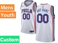Mens Youth Philadelphia 76ers Nike Custom Made White Swingman Jersey