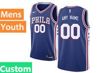 Mens Youth Philadelphia 76ers Nike Custom Made Blue Swingman Jersey
