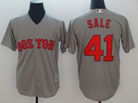 Mens Majestic Mlb Boston Red Sox #41 Chris Sale Grey Cool Base Jersey